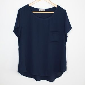 Pleione | Anthro | Navy Blue Sheer Top Size L